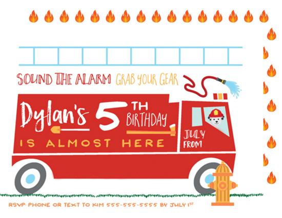 fire truck party invitation