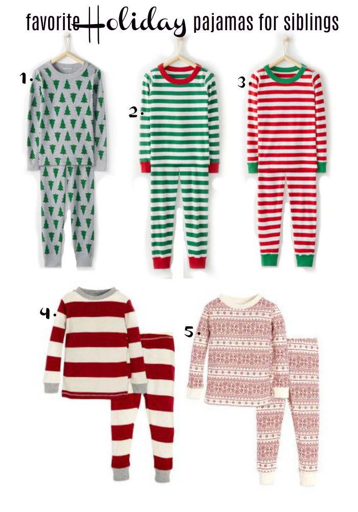 favorite holiday pajamas for siblings
